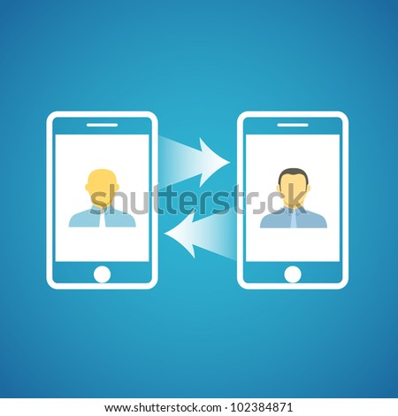 Two businessmen communicatitng with the mobile phones - stock vector