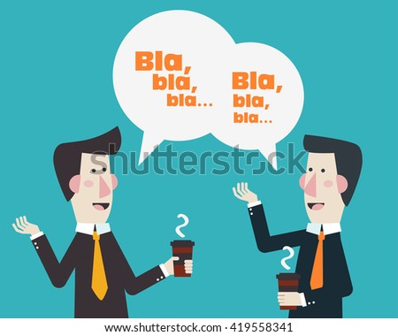 Two businessmen drinking coffee and talking. Coffee time, break and relaxation vector concept. Modern design style - stock vector