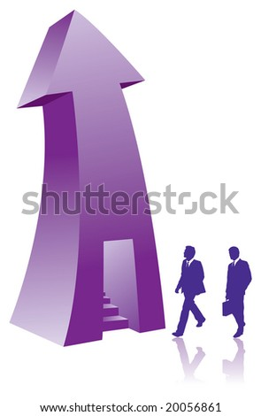 Two businessmen enter a stairway in an arrow - stock vector