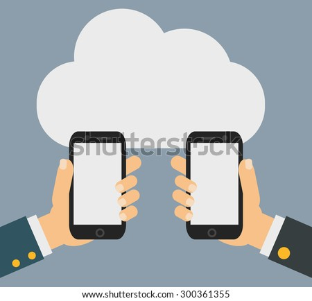 Two businessmen exchange information. Mobile phone transferring data from cloud.  - stock vector