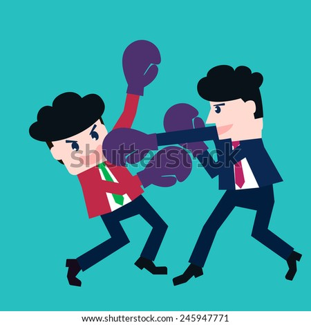 Two businessmen fighting in a boxing with boxing gloves - stock vector