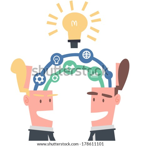 Two Businessmen Linking Idea - stock vector
