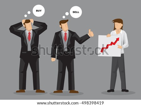 Two businessmen looking at same chart arrive at different investment decision to buy and sell. Cartoon vector illustration on different perspective of the same thing concept.