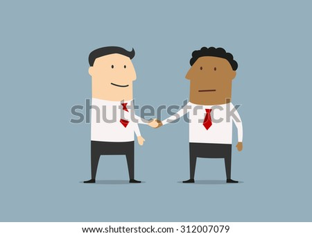 Two businessmen of different ethnicity standing shaking hands at the conclusion of a business deal - stock vector
