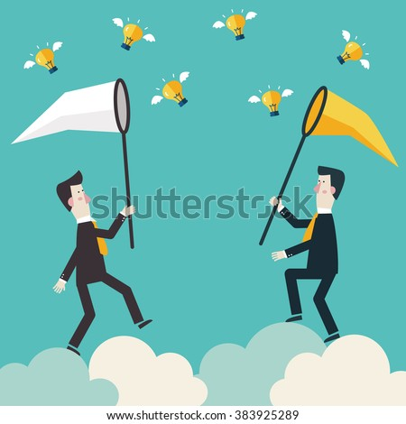 Two businessmen running on clouds and trying to catch a light bulb idea in the sky. Competition and rivals vector concept design. Partnership, cooperation and teamwork in business illustration - stock vector