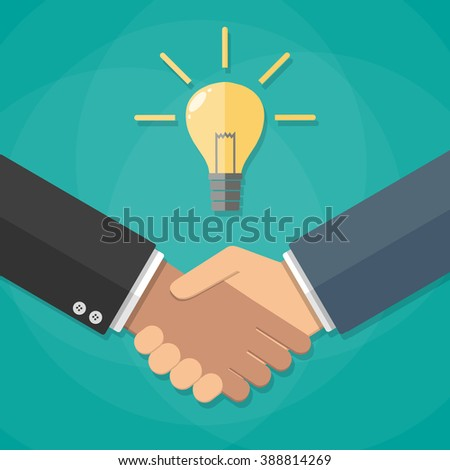 Two businessmen shake hands for a deal, light bulb. Business idea concept. vector illustration in flat design on green background - stock vector