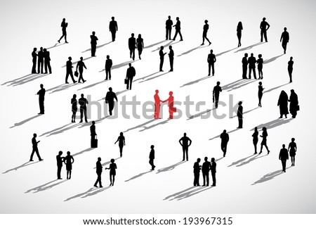 Two businessmen shaking hands admist the crowd of business people. - stock vector