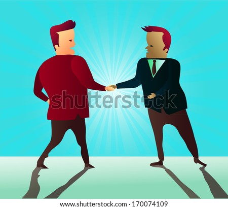 Two businessmen shaking hands as they sign a partnership agreement - stock vector