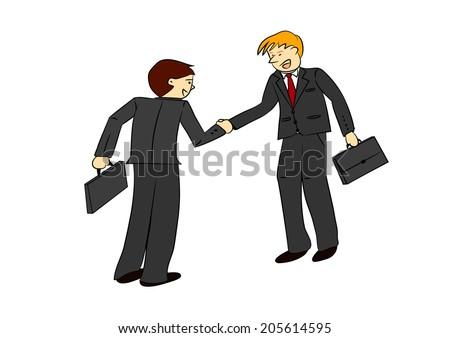 Two businessmen shaking hands vector illustration - stock vector