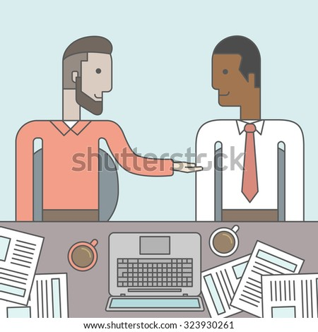 Two businessmen sitting while talking in front of laptop and documents. Business partnership concept. Vector line design illustration. Square layout. - stock vector