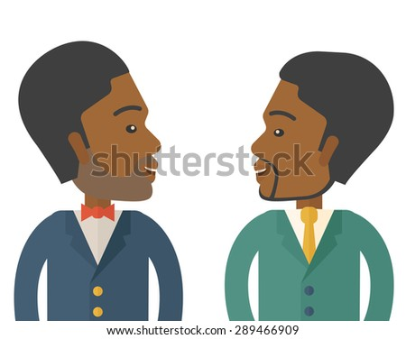 Two businessmen smiling to each other showing that they are happy for their business. A Contemporary style. Vector flat design illustration isolated white background. Square layout. - stock vector