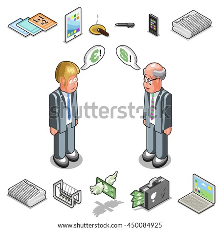Two businessmen talking about financial Euro and Dollar, with business equipment such as reports, tablet, pen, cell phone, newton's cradle, news paper, money, laptop (isometric view)