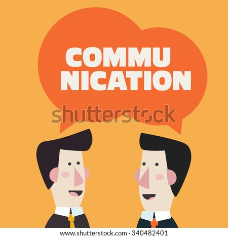 Two businessmen talking and discussing. Communication, people connection, partnership, cooperation and teamwork in business vector concept - stock vector