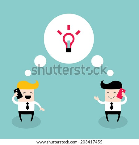 Two businessmen talking by the phone. Colleagues, collaboration, business success theme. Vector illustration - stock vector