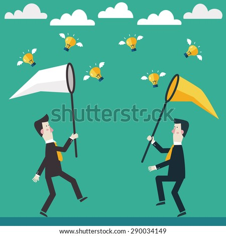 Two businessmen trying to catch a light bulb idea. Competition concept - stock vector