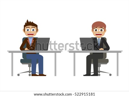 Two businessmen work with computers laptops at the office desks