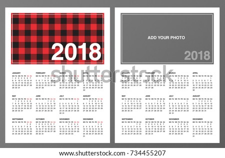 Two  Calendar Templates Lumberjack Patterned Stock Photo Photo