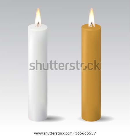 Two candles isolated - stock vector