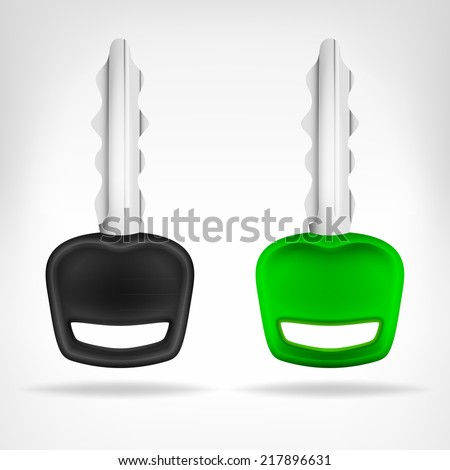 two car keys object 3D design isolated on white vector illustration - stock vector