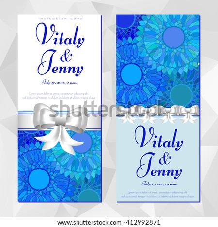 Two cards with blue mandala pattern for Women's, Mother's, Birth day, Anniversary, Wedding, Invitation. Posters for cosmetics store, beauty salons, yoga studios, massage cabinet. Vector illustration