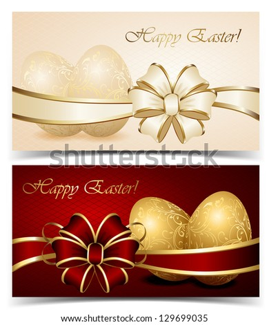 Two cards with Easter eggs and bow, illustration. - stock vector