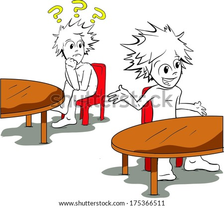 Two cartoon character are sitting at tables and one feels left out