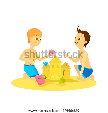 Two cartoon cute boys making sand castle. Vector illustration of fun kids playing on summer beach. Kids in swimwear and sand castle. Summer friends. Happy children playing near sea. - stock vector