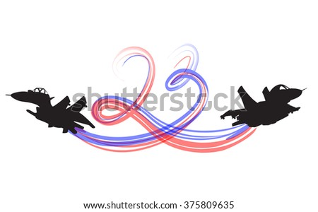 Two Cartoon Military Airplanes silhouettes - stock vector