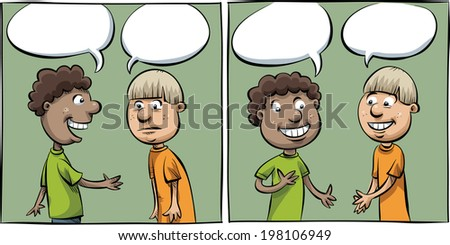 Two cartoon panels of two boys having a friendly conversation.