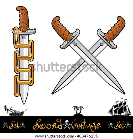 Two cartoon pirate elements. One knife pushed through golden rings of chain and two cross knives the second one