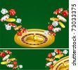 Two casino backgrounds, Wallpapers and banner of casino dices, chips and roulette  on green background. - stock vector