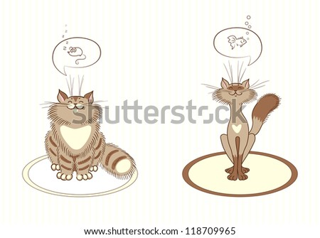 Two cats illustration. Cats dream about delicious food. Vector  with warm colors - stock vector