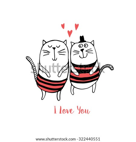 Two cats in love. Vector illustration - stock vector