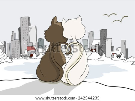 Two cats looking at a city - stock vector
