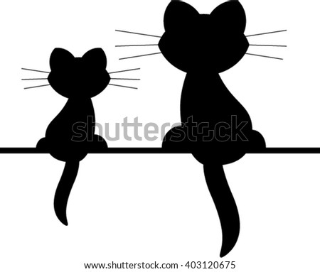 Two cats on the shell. - stock vector