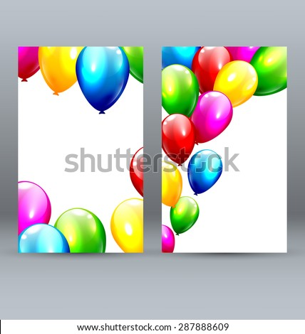 Two Celebration Greet Cards with Inflatable Bright Balloons - stock vector