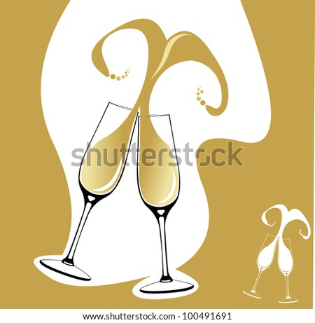Two champagne glasses or flutes making a toast with splash in the shape of heart. Easy editable layered vector illustration - stock vector