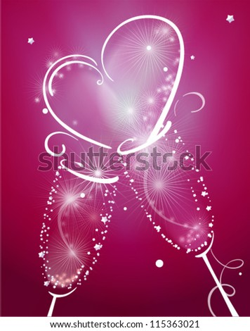 Two Champagne Glasses with Abstract Heart Splash. Vector illustration - stock vector