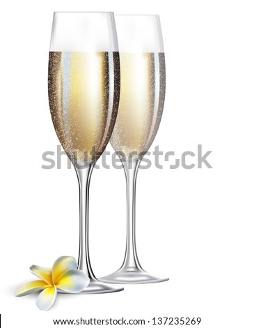 Two champaign glasses and flower isolated on white background - stock vector