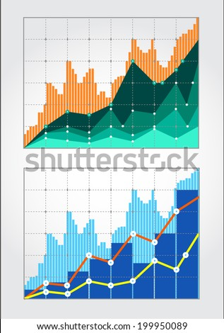 Two charts forex quotes for a certain period. The general trend is increasing over the period. - stock vector