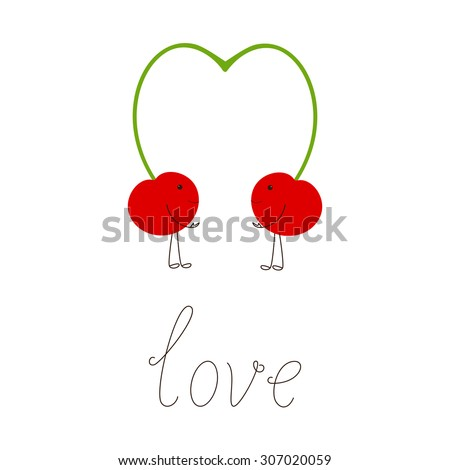 Two cherries with springs close in the shape of heart and lettering love it isolated on white background. Design element, vegetarian menu decoration. Flat style illustration - stock vector