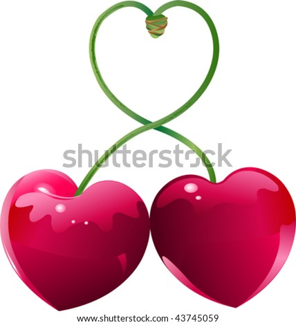 Two Cherry hearts and cherry sticks shows a heart-shape - stock vector