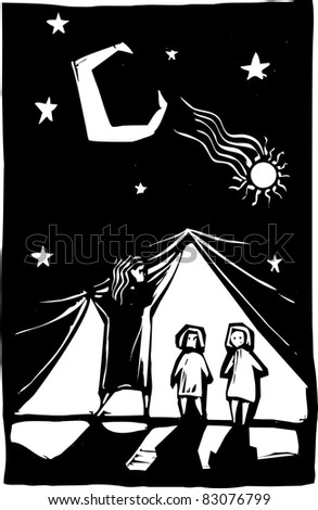 Two children are revealed behind a curtain of stars.