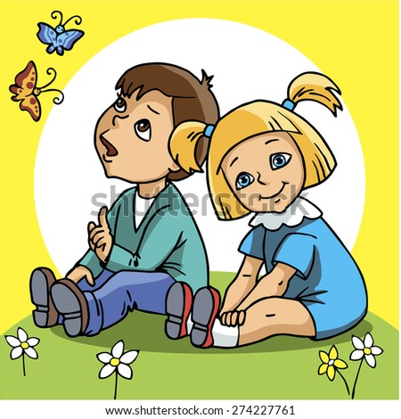 Two children. Cute kids. Girl and boy sit on green grass. Flowers, sun, butterflies. Vector illustration. Cartoon style.