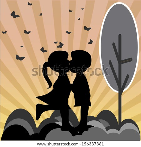 two children kissing, sunset landscape background with birds flying - stock vector