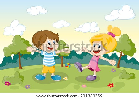 Two children playing on a meadow