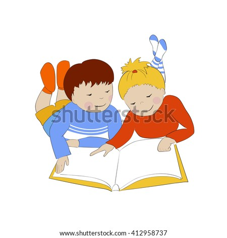 Two Children Reading Girl Boy Lying Stock Vector 412958737 ...