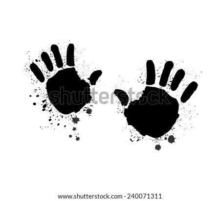 two children`s dirty black hands, white background, hand print, hands in ink, inky blots - stock vector