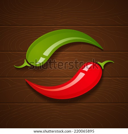 Two chili peppers on wooden background - stock vector