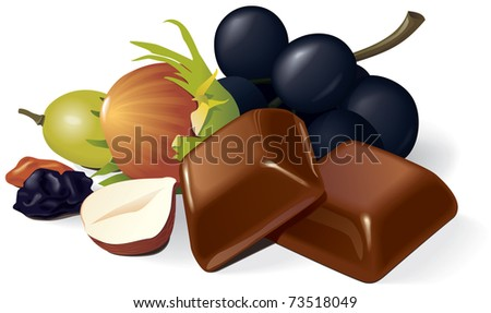 Two chocolate pieces, raisins, grapes and hazelnuts composition. Vector illustration - stock vector